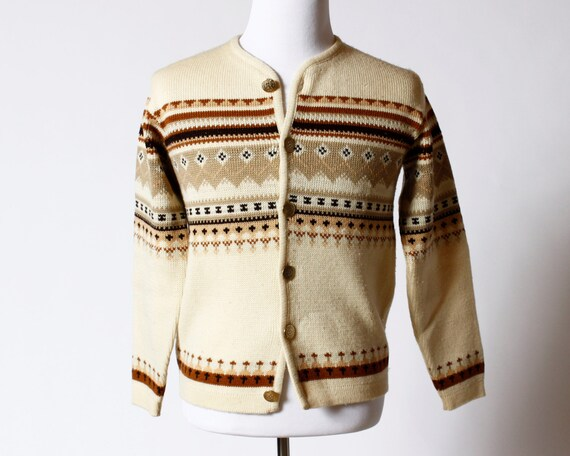 Vintage Men's Wool Cardigan Sweater - 60's Caldwell Knit-Rite Made in Canada Medium M 7xFf9P