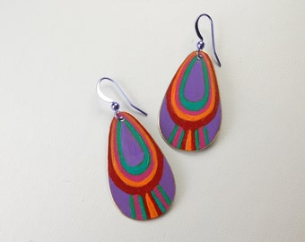 Plum/Orange/Fuchsia/Red/Green Earrings