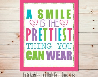 Printable girl art A smile is the prettiest thing Colorful wall decor Digital download art print Girls room art Pink lime green art #1570