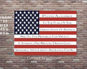 Pledge Of Allegiance, Patriotic Flag Art, 7 x 5, 10 x 8, 14 x 11, 20 x 16, INSTANT DOWNLOAD, Pledge of Allegiance Flag Art, USA Flag Art