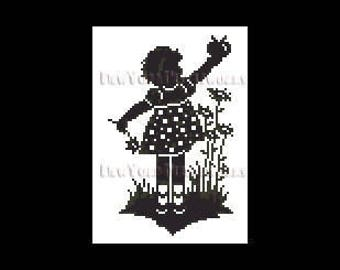 Girl Silhouette Pattern, Child Silhouette, Girl With Apple, Cross Stitch Pattern, Silhouettes, Children from NewYorkNeedleworks on Etsy