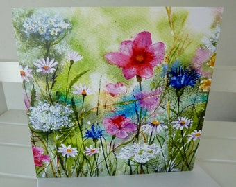 NEW! Larger Card  - Meadow Flowers - Greetings Card -