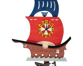Pirate Ship Boat Personalised Wooden Pendulum Clock