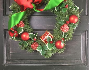 Christmas Wreath Red and Green with Drum