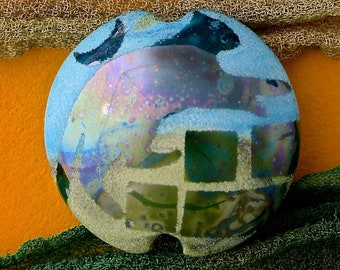 "Handmade Lampwork Glass Bead ""Evening Wanderer"" SRA Sandblasted Focal Bead ~ Iridescent Lustre Cat Bead ~ Meadow Shades"