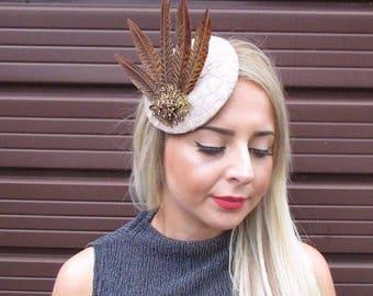 Beige Brown Pheasant Feather Pillbox Hat Fascinator Hair Clip Vintage Races 3072