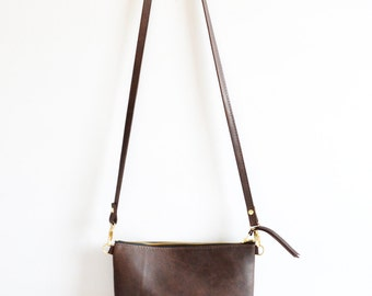 Leather crossbody bag  / Minimalist bag / Small leather bag / Leather purse / Simple leather bag  / Dark brown leather