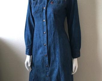 Vintage Women's 70's Levi's Denim Dress, Orange Tab, Long Sleeve, Knee Length (S)