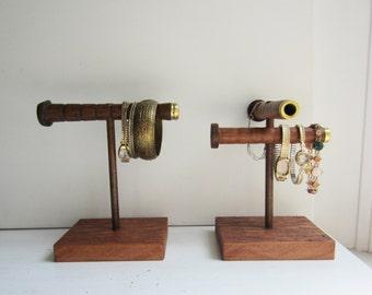 Rustic Bracelet Display Stand - Double Bracelet Holder - Bracelet Organizer - Bracelet Storage - Antique Textile Spool Jewelry Display