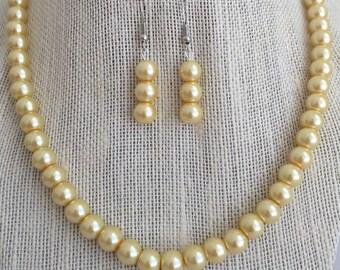 Yellow Pearl Necklace / Yellow Wedding Bridesmaid Jewelry Gift Set / Yellow Bead Necklace / Yellow Bridal Jewelry / Yellow Prom Jewelry