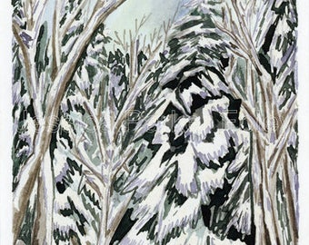 Watercolor Giclée Print - Snowy Cedar Swamp Vermont
