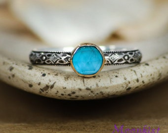 Blue Silver Ring - Gold & Sterling Silver Promise Ring - London Blue Topaz Ring - Blue Promise Ring - Blue Stacking Ring - Size 7 Ring, RTS