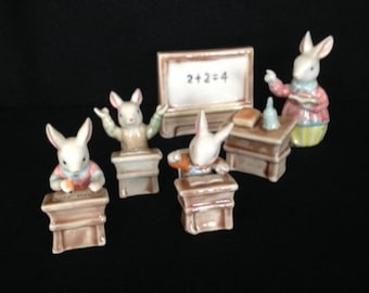 Ceramic Six Piece Bunny Rabbit School Teacher and Student Figurines