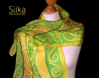 Green silk scarf Hand painted silk scarves green leaves Silk scarf yellow scarf  OOAK Gift for her Handmade scarf, Unique art, Silk shawl