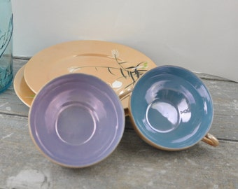 Vintage Japanese Lusterware Eggshell Porcelain Tea Cups and Dessert Plates Swans Lily Pads Peach Blue and Purple