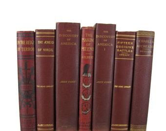 Maroon Red  Antique Books, Farmhouse Decor, Antique Book Decor , Decorative Books , Wedding Prop , Photo Prop , Vintage Books , Old Books
