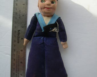 Queen Elizabeth 2 SAILOR DOLL, CUNARD souvenir, good shape, blue velvet suit. 8.5 inches tall.