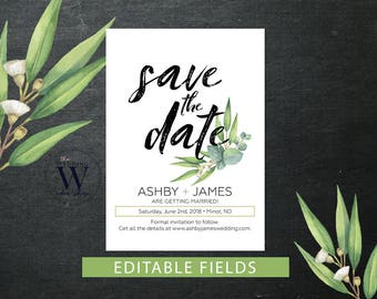 Save the Date, Greenery Save the Date, Printable Save the Date, Save the Date Card, Floral Save the Date, Whimsical Save the Date
