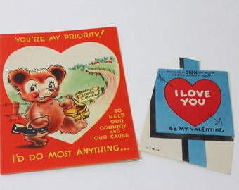 """Pair of vintage Valentines Day cards, from 1940s, """"to heck with rationing"""""""