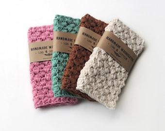 WASHCLOTH Cotton Women Gifts Crochet Washcloths Hostess Gift Stocking Stuffer Gift for Her Handmade Washcloth