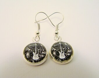 ELECTRIC GUITAR Silver Dangle Earrings -- Rock and Roll earrings for her, Gift for musicians and music lovers