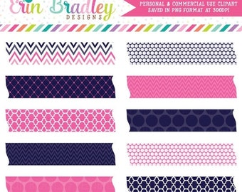 80% OFF SALE Blue and Hot Pink Washi Tape Clipart Commercial Use Digital Clip Art Graphics