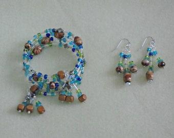 Hand-Beaded Bracelet and Earring Set