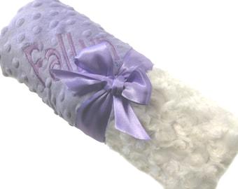 Personalized Baby Blanket Cream Ivory Swirl Minky Baby Blanket with Dot Minky Back Stroller Size
