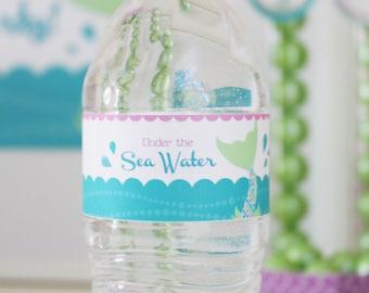 Mermaid Party | Mermaid Birthday | Water Bottle Labels | Mermaid | Water Bottle Label | Mermaid Water Bottle | Under the Sea | Birthday