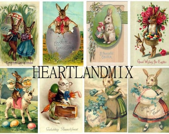 Set of 8 Tags Vintage Easter Postcards