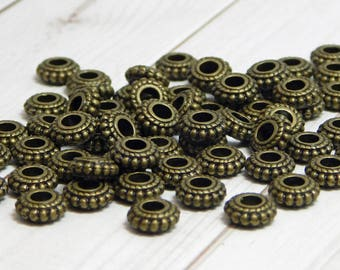 8x3mm - Metal Beads - Rondelle Spacer Beads - Antique Bronze - Bronze Beads - Bronze Spacers - Spacer Beads - 50pcs - (4362)