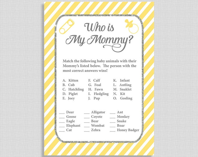 Who's My Mommy Baby Shower Game, Yellow Stripe Shower Game, Baby Animals Game, INSTANT PRINTABLE