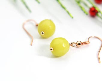 Yellow Jade Earrings Natural Dyed Jade Earrings Dyed Natural Jade Earrings Dyed Faceted Gemstone Jewelry Rose Gold Christmas Gift
