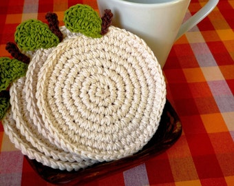 Apple Coasters - Fruit Coasters - Crochet Coasters - Housewarming Gift - Gift for Teacher - Rustic Home Decor - Kitchen Decor - set of 4