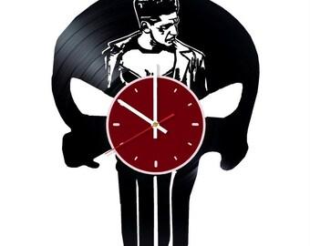 Punisher vinyl wall clock Punisher Skull Logo Marvel Comics wall clock Punisher gifts Marvel Comics wall decor Comics clock Punisher wall