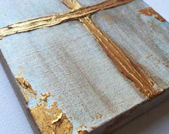 Gold Cross Knife Painting, gold leafing, hand painted