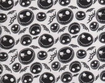 Jack Skellington on White Cotton lycra knit fabric