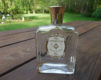 Vintage 1950s to 1960s Clear Glass Bal Versailles Eau De Cologne France/French Empty Used Retro Perfume Bottle Jean Desprez Gold Plastic Top