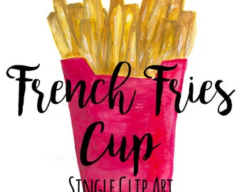 French Fries Cup Clip Art, Single file, Fast Food Clip Art, Watercolor Clip Art, INSTANT DOWNLOAD, French Fry Art, Fried Food Clip Art