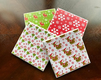 Christmas Coasters, Holiday Coasters, Holiday Snowflake Decor, Christmas Decor, Candy Cane Drink Coasters, Christmas Variety Drink Coasters