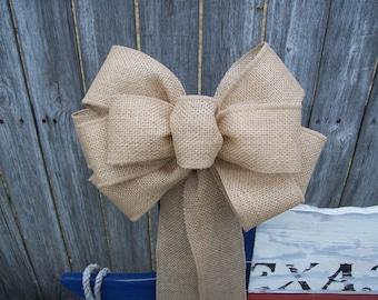 Burlap Pew Bow, Burlap Aisle Decoration, Rustic Wedding, Pew Bow, Chair Bow, Rustic Decor, Cottage Chic