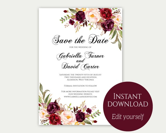 Save the date template save the date cards printable save solutioingenieria Image collections