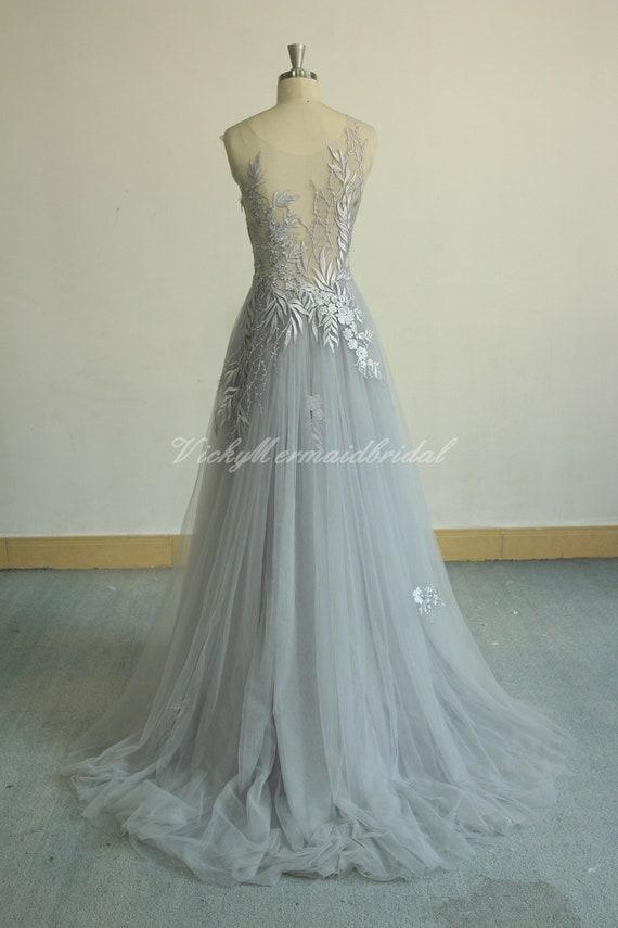 Unique aline Tulle Lace Wedding Dress dusty blue bridal gown