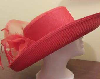 Stunning Vintage Betmar New York Red Straw Hat Red Tulle Red Feathers