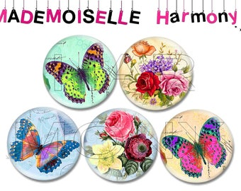 5 glass cabochons 25 mm floral motifs and butterflies size 25 mm cabochons