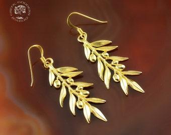 olive leaves golden dangle earrings, olive leaf, leaves earrings, olive leaf earrings, greek earrings, bridal earrings, leaf earrings