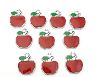 10 apple charms red enamel and silver tone,17mm x 21mm #CH 156