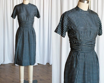 Lover Come Back dress | vintage 50s dress | navy blue 1950s dress | 50s fitted silk polka dot cocktail / party dress | 1950s navy blue