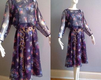 Sale Vintage 70s Boho Hippie Sheer Floral Dress ~ Dolman Drape Sleeve Chiffon Midi ~  Light Gauzy Circle Skirt