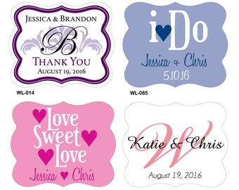 240 - 2 x 1.625 inch Die Cut Custom Waterproof Wedding Stickers Labels -many designs to choose - change designs to any color or wording